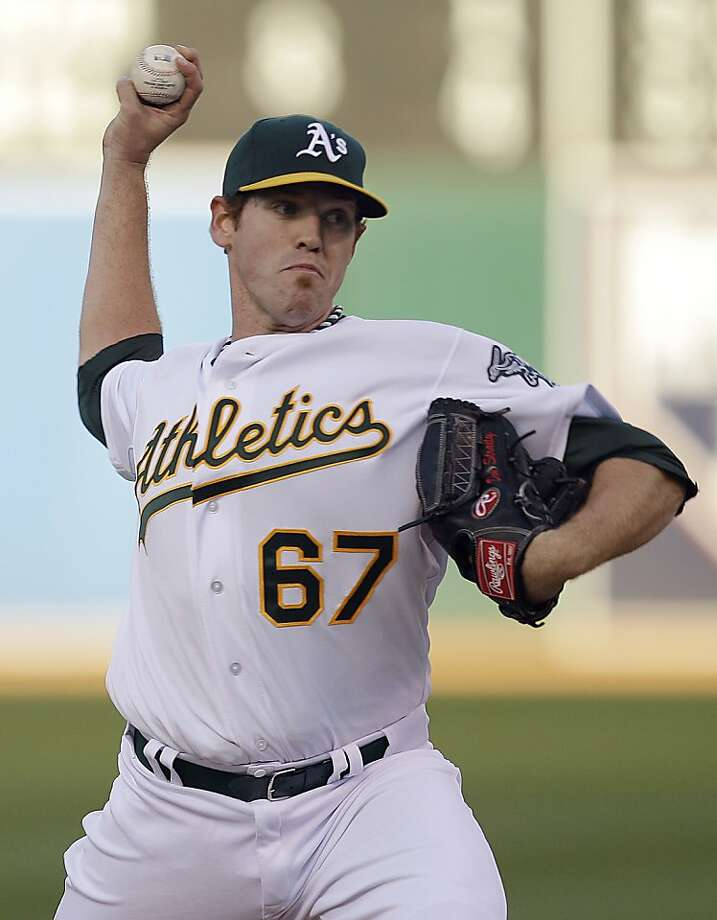Oakland Athletics' Dan Straily works against the Toronto Blue Jays in the first inning of a baseball game Friday, Aug. 3, 2012, in Oakland, Calif. (AP Photo/Ben Margot) Photo: Ben Margot, Associated Press