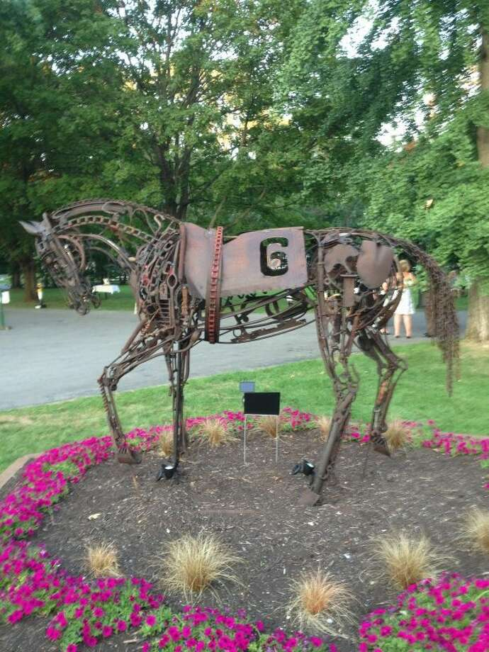 A statue of Funny Cide, dedicated on Thursday night next to The Lodge restaurant in Saratoga Springs. (Mark Singelais/Times Union)