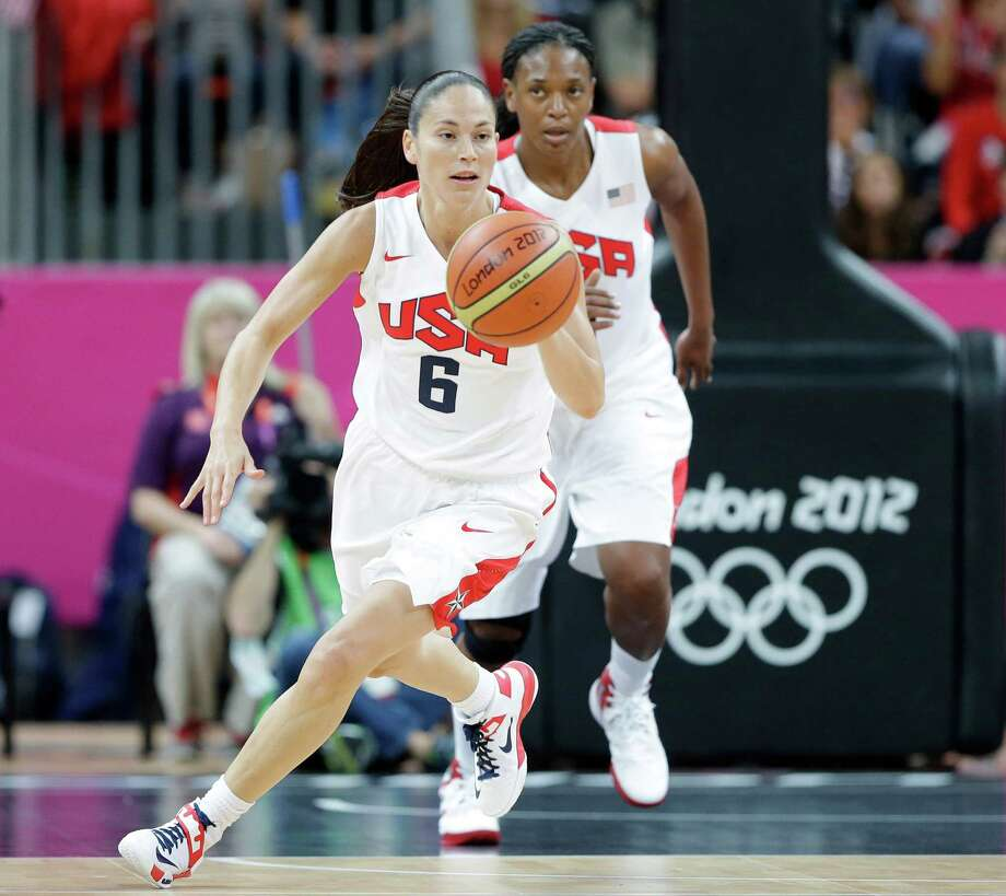 USA's Sue Bird (6) is followed by teammate Asjha Jones as she moves the ball up court during a preliminary women's basketball game against Turkey at the 2012 Summer Olympics, Wednesday, Aug. 1, 2012, in London. (AP Photo/Eric Gay) Photo: Eric Gay, Associated Press / AP