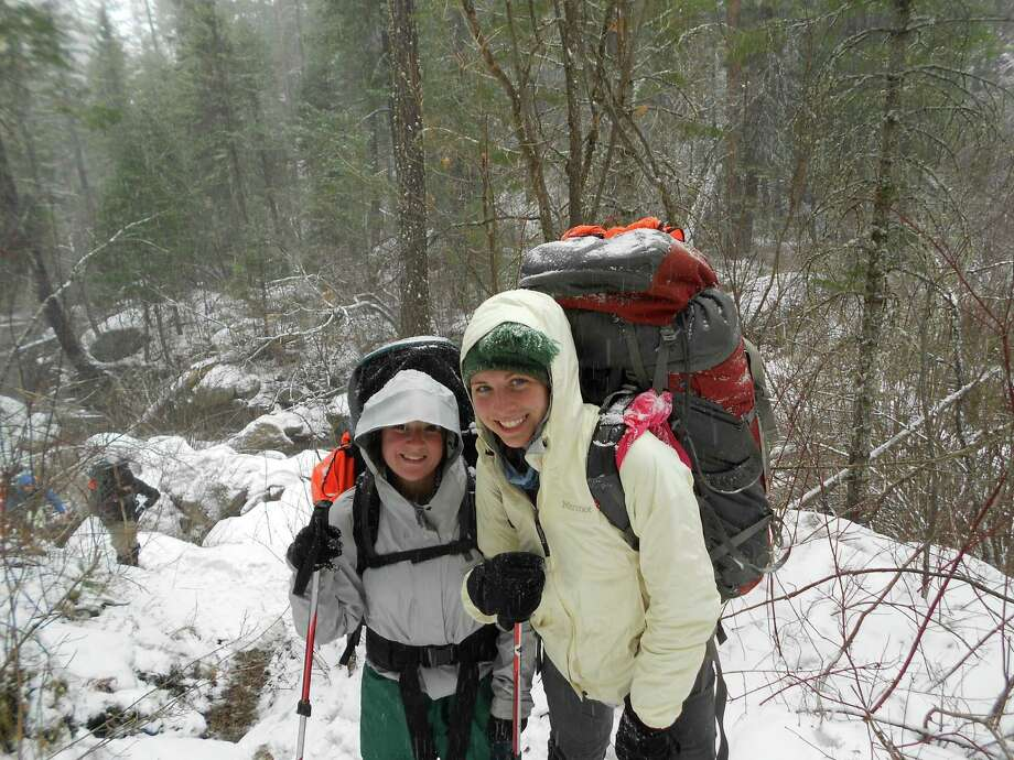 Megan MarkAnthony, left, and Abbie Frey, of Greenwich, at the beginning of a snowstorm in the Gila Wilderness of New Mexico. Photo: Contributed Photo