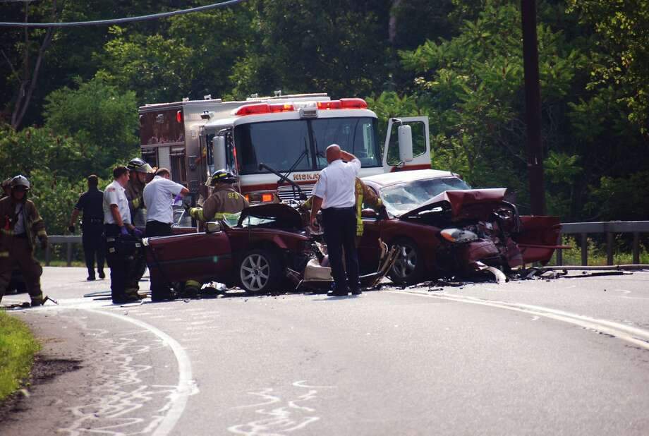 One person was killed Saturday afternoon, Aug. 4, after this crash on Aqueduct Road in Niskayuna. (Thomas Heffernan Sr./Special to the Times Union) Photo: Picasa