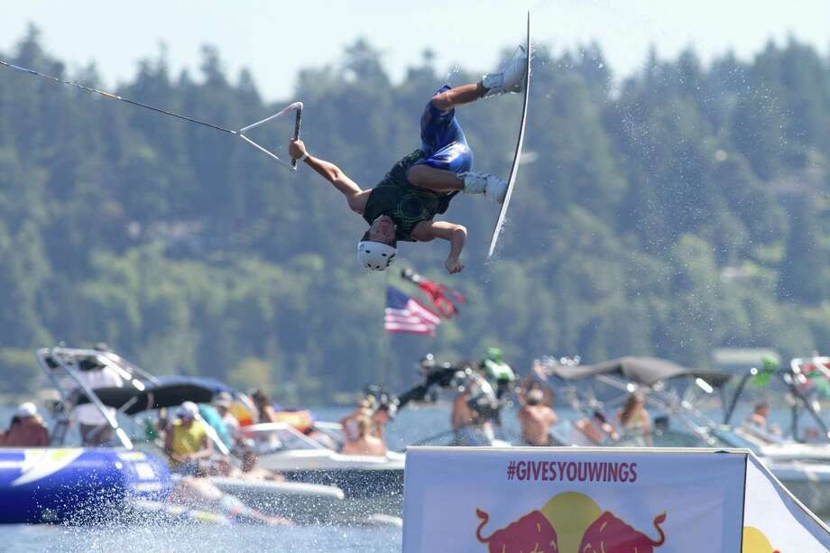 A wakeboarder performs a trick during the Hyperlite Wakeboard Experience Seafair event on Lake Washington. Photo: Sofia Jaramillo / SEATTLEPI.COM
