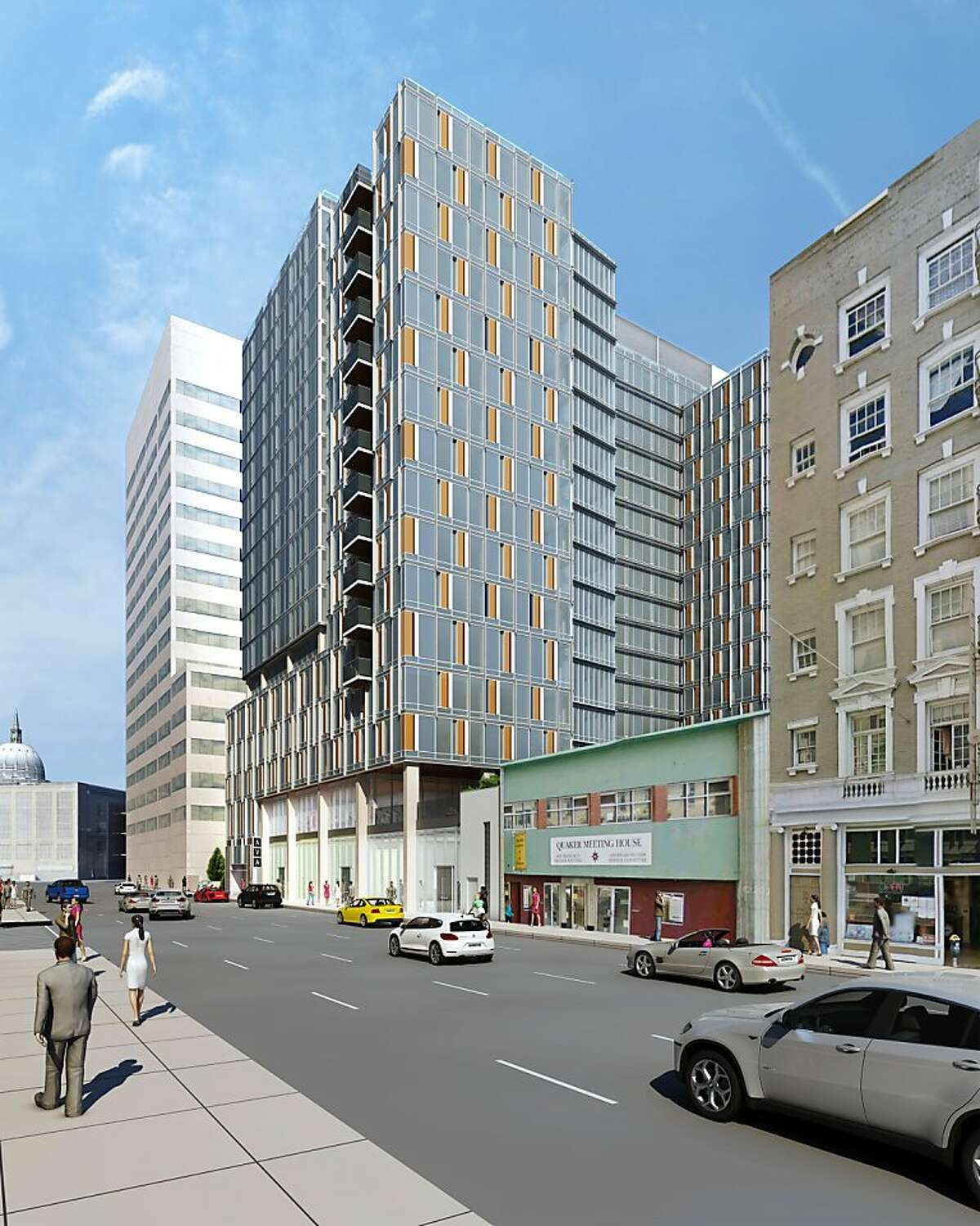 A new 17-story residential building at 55 9th St. is one of several large additions to downtown San Francisco that will be clad largely in glass.