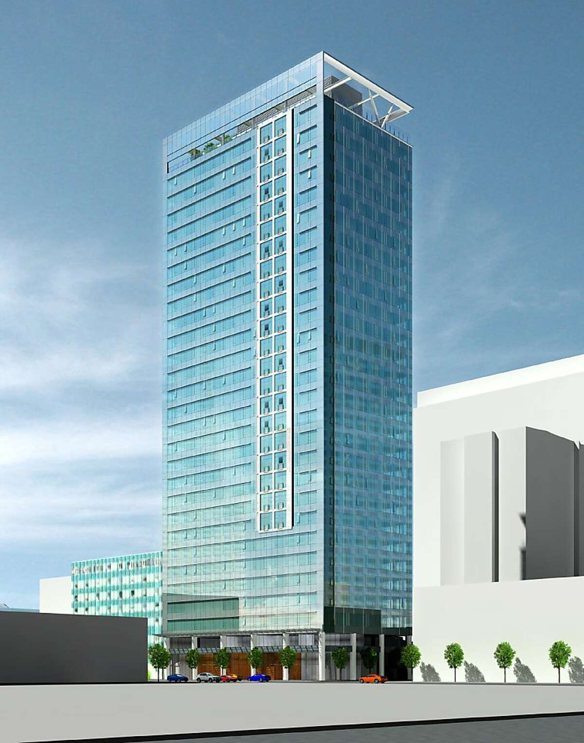 Developers have proposed to strip the concrete skin off a 1972 tower at 100 Van Ness and install a new glass exterior instead. The architect is Solomon Cordwell Buenz.