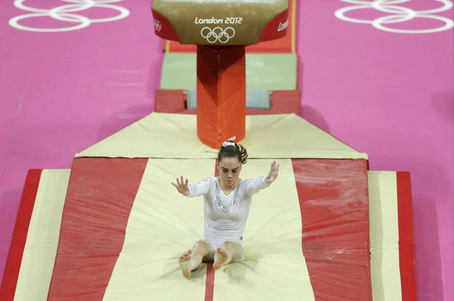 U.S. gymnast McKayla Maroney botches her dismount  during the artistic gymnastics women's vault  final at the 2012 Summer Olympics, Sunday, Aug. 5, 2012, in London. (AP Photo/Gregory Bull) (Gregory Bull / Associated Press)