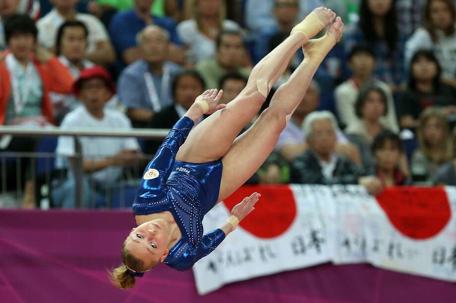 LONDON, ENGLAND - AUGUST 05: Maria Paseka of Russia competes on the vault during the Artistic Gymnastics Women's Vault final on Day 9 of the London 2012 Olympic Games at North Greenwich Arena on August 5, 2012 in London, England.  (Photo by Ezra Shaw/Getty Images) (Ezra Shaw / Getty Images)