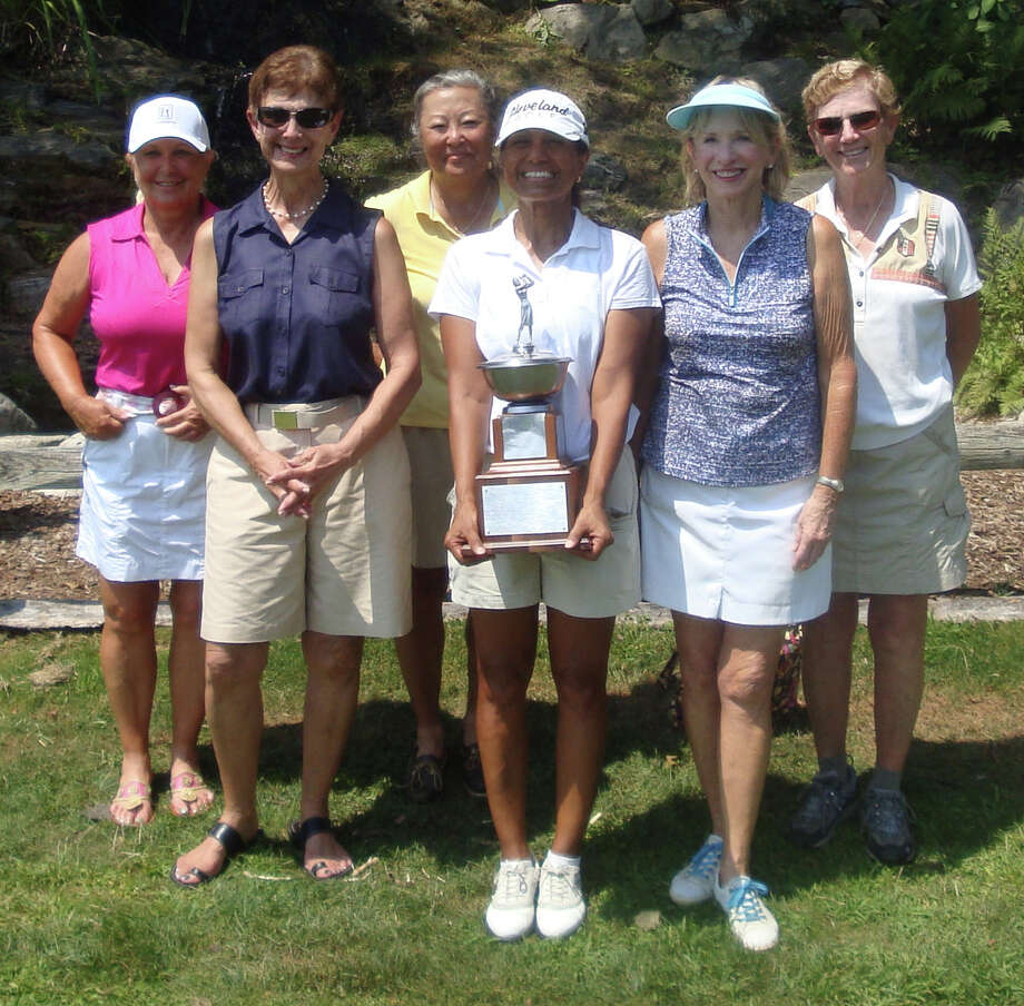 Winners and runners-up in the Longshore Women's Golf Association 52nd annual Club Championship Tournament gathered for a portrait after the tournament concluded Saturday. From left are: Wendy Montanaro , third-flight runner-up; Dolores Mockler, third-flight winner; Jean Murdoch, championship-flight runner-up;  Jo Rasmussen, club champion; Johanna Swartley, second-flight winner;  and Jeanne Klinge, second-flight runner-up. Photo: Contributed Photo / Westport News