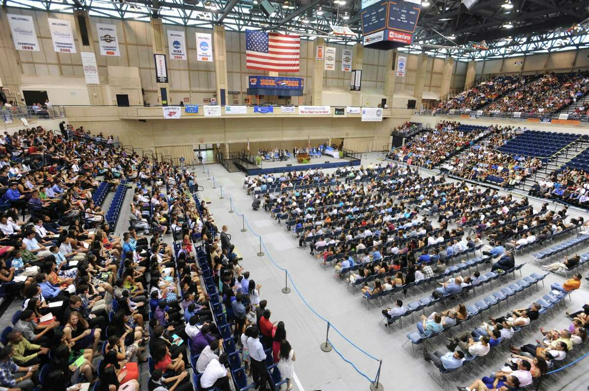 Around 1,200 middle and high school students gathered at UTSA's Convocation Center for the PREP Closing Ceremonies. UTSA math professor Manuel Berriozábal founded PREP in 1979.