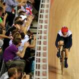 Victoria Pendleton of Great Britain competes during the Women's Sprint Track Cycling Qualifying.