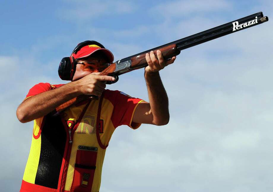 Jesus Serrano of Spain competes in the Men's Trap Shooting at the Royal Artillery Barracks in London. Photo: Lars Baron, Getty Images / 2012 Getty Images