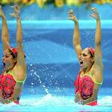 Sona Bernadova and Alzbeta Dufkova of the Czech Republic compete in the Women's Duets Synchronised Swimming Technical Routine at the Aquatics Centre  in London.