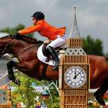 Maikel Van Der Vleuten of Netherlands riding Verdi competes in the 2nd Qualifier of Individual Jumping at Greenwich Park in London.