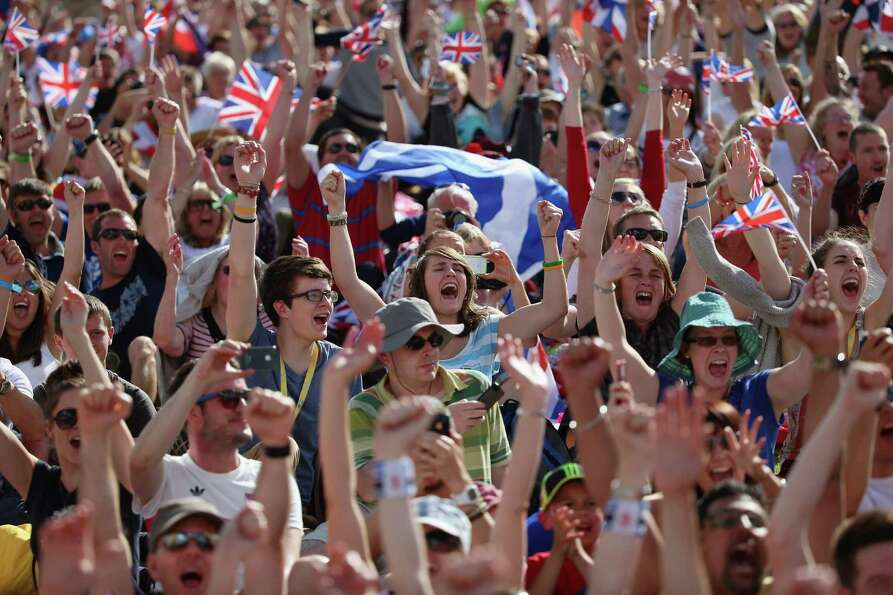 Crowds gather in the Olympic Park on Day 9 to watch Andy Murray on big screens win his gold medal in