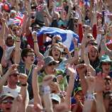 Crowds gather in the Olympic Park on Day 9 to watch Andy Murray on big screens win his gold medal in the Men's Singles Tennis match.
