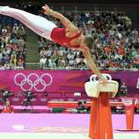 Krisztian Berki of Hungary competes on the horse during the Artistic Gymnastics Men's Pommel Horse Final.