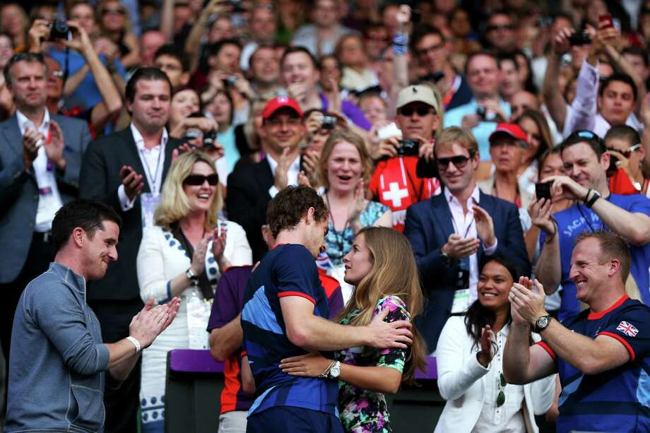 Andy Murray (L) of Great Britain celebrates with his girlfriend Kim Sears after defeating Roger Federer of Switzerland in the Men's Singles Tennis Gold Medal Match. Photo: Clive Brunskill, Getty Images / 2012 Getty Images