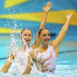 Eloise Amberger and Sarah Bombell of Australia compete in the Women's Duets Synchronised Swimming Technical Routine at the Aquatics Centre  in London.