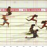 In this handout photo finish image supplied by Omega,  Sanya Richards-Ross of the United States crosses the finish line to win the Women's 400m final.