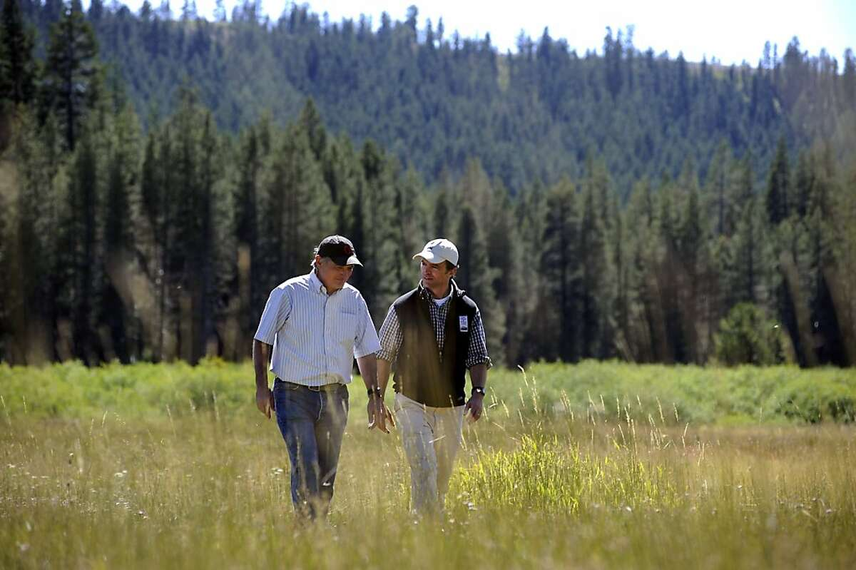 Perry Norris(L) of the Truckee Donner Land Trust and Sam Hodder of the Trust for Public Land walk through Norden Meadow Friday August 3rd, 2012 The Trust for Public Land secured a deal to buy 3,000 acres at Donner Summit saving it from a 950-home development.