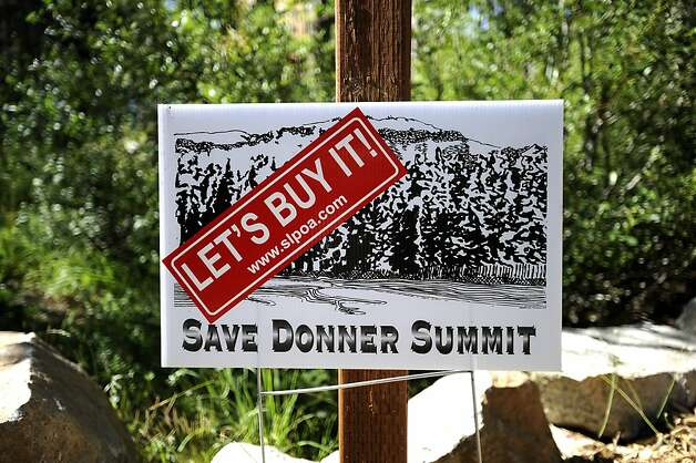 A sign in a front yard of a supporter of the land purchase is seen in Soda Springs, Friday August 3rd, 2012  The Trust for Public Land secured a deal to buy 3,000 acres at Donner Summit saving it from a 950-home development. Photo: Michael Short, Special To The Chronicle