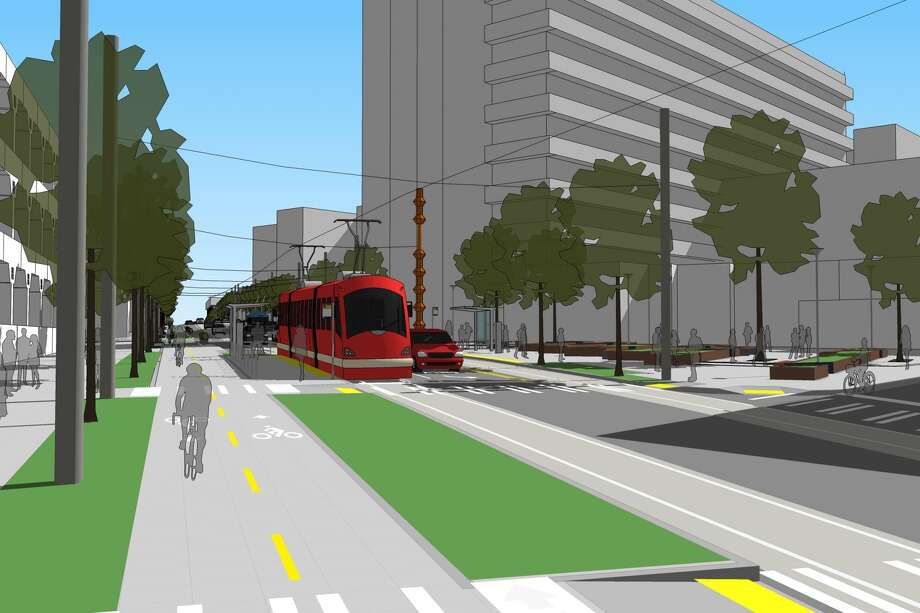 A conceptual illustration of a future stop at Broadway and Marion Street. Notice the bikeway with a lane in each direction on the left. Photo: City Of Seattle