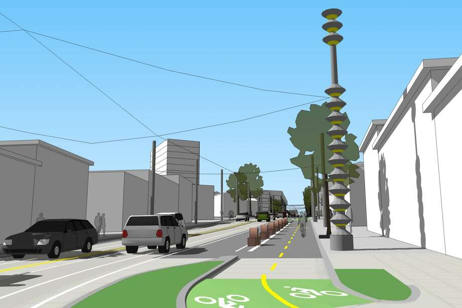 An illustration of a future streetcar stop at Broadway and Yesler, looking north. Photo: City Of Seattle