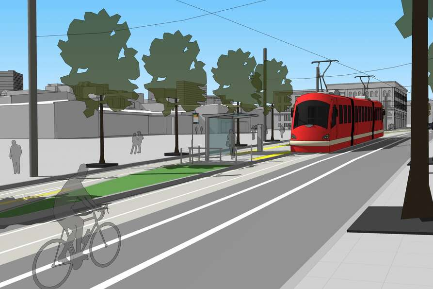 An illustration of a future streetcar stop at 14th Avenue and South Washington Street.