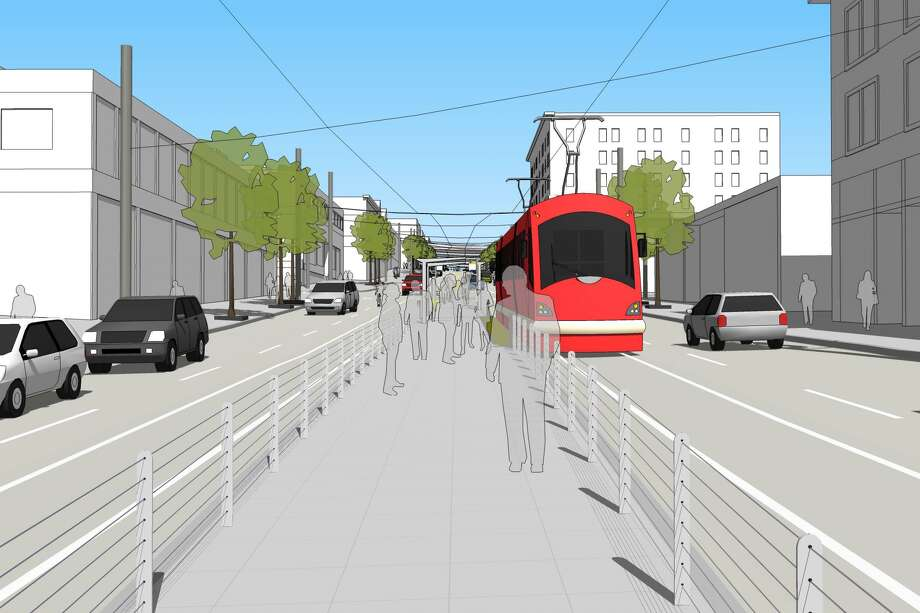 An illustration a future stop at Fifth Avenue and Jackson Street. Photo: City Of Seattle
