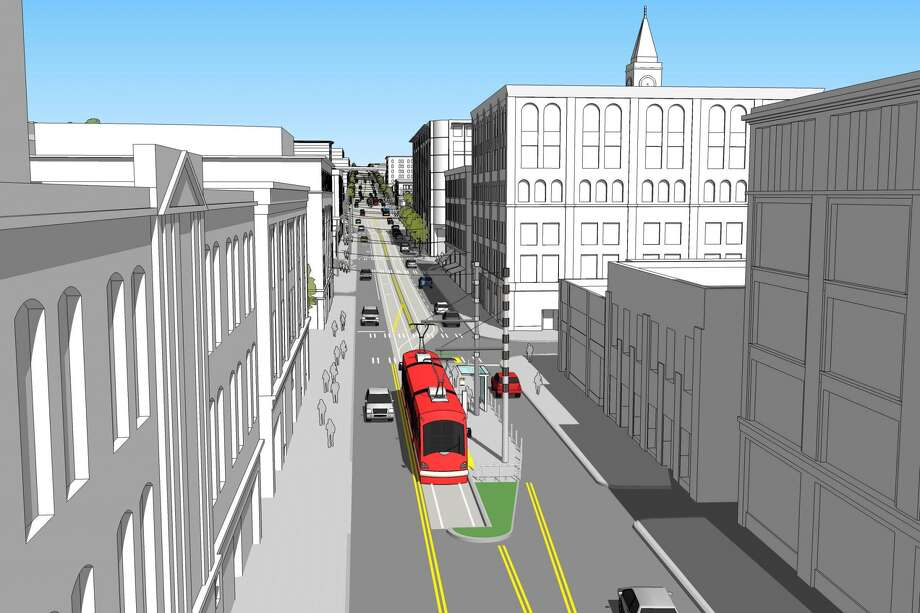 Anl illustration of a future streetcar stop at Jackson Street and Occidential Avenue. Photo: City Of Seattle