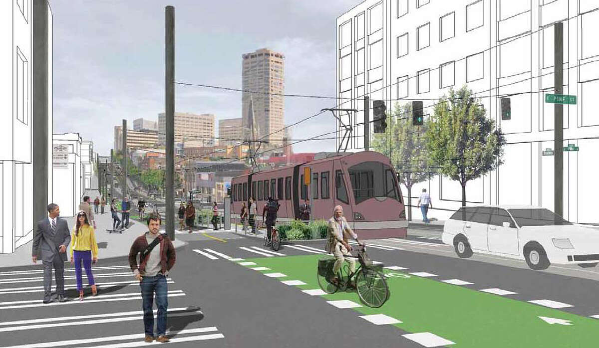 A conceptual illustration of a future streetcar stop at Broadway and Pine Street.