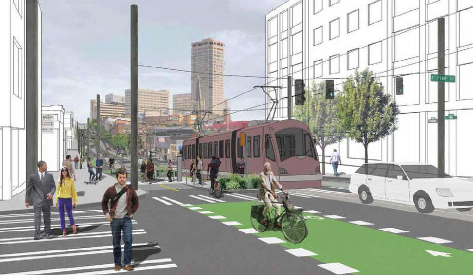 A conceptual illustration of a future streetcar stop at Broadway and Pine Street. Photo: City Of Seattle / City of Seattle