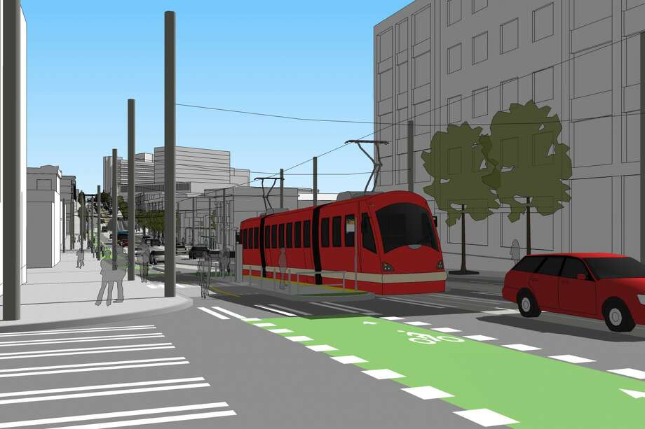 A conceptual illustration of a future stop of Broadway and Pine Street. Photo: City Of Seattle