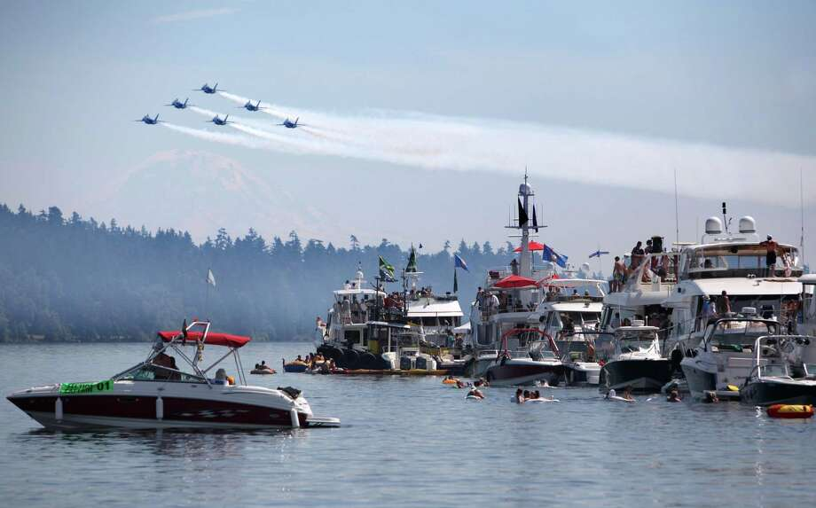 The U.S. Navy Blue Angels fly over the Log Boom during Seafair on Sunday, August 5, 2012 on Lake Washington. Photo: JOSHUA TRUJILLO / SEATTLEPI.COM