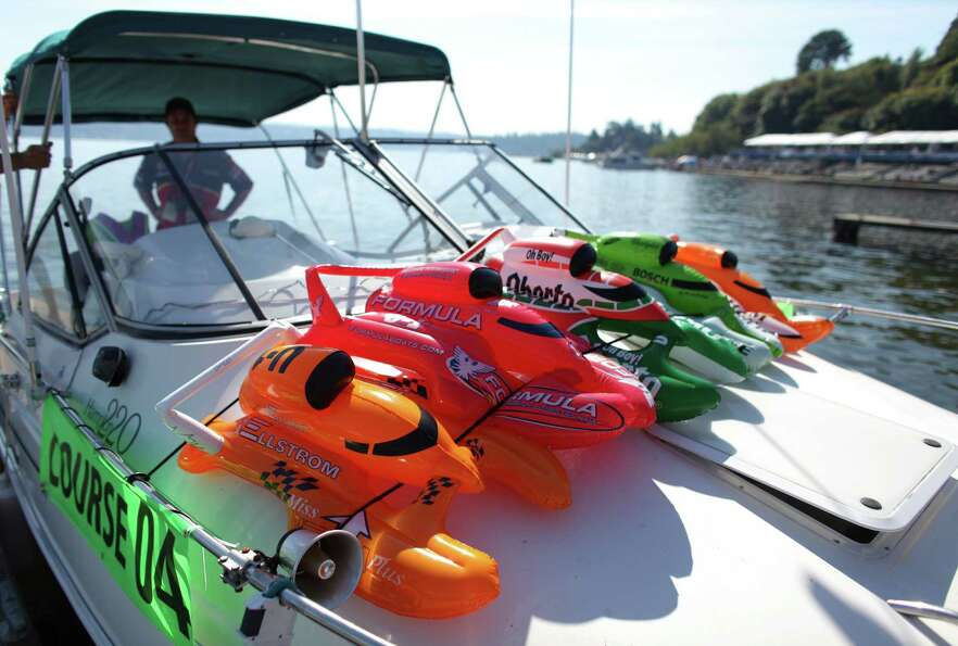 Inflatable hydroplanes are affixed to the deck of a boat during Seafair on Sunday, August 5, 2012 on