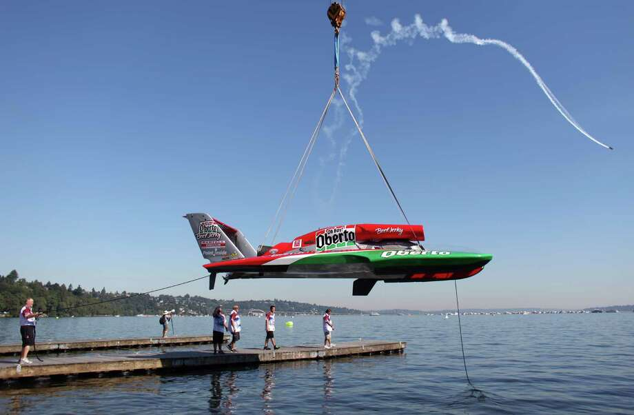 The Oh Boy! Oberto boat is hoisted from the water during Seafair on Sunday, August 5, 2012 on Lake Washington. Photo: JOSHUA TRUJILLO / SEATTLEPI.COM