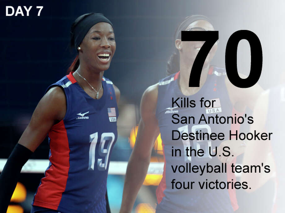 United States' Destinee Hooker celebrates during a women's preliminary volleyball match against Serbia at the 2012 Summer Olympics, Friday, Aug. 3, 2012, in London. Photo: Jeff Roberson / Associated Press; San Antonio Express-News Photo Illustration / AP