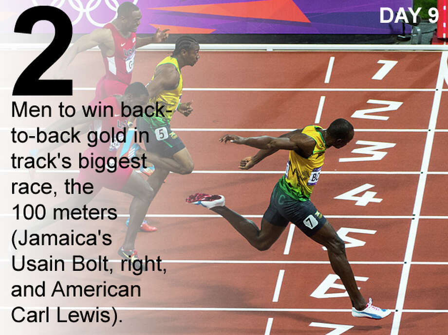 Usain Bolt of Jamaica, crosses the finish line during the men's 100-meter final at the 2012 London Olympics on Sunday, Aug. 5, 2012. Bolt won gold in the event. Photo: Smiley N. Pool / Houston Chronicle; San Antonio Express-News Photo Illustration / © 2012  Houston Chronicle