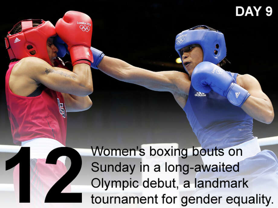 Natasha Jonas of Great Britain (R) in action with Quanitta Underwood of United States during the Women's Light (57-60kg) Boxing on Day 9 of the London 2012 Olympic Games at ExCeL on August 5, 2012 in London, England. Photo: Scott Heavey / Getty Images; San Antonio Express-News Photo Illustration / 2012 Getty Images