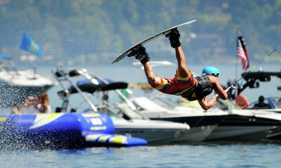 Wakeboarder Trever Maur catches some air as he performs at the Hyperlite Wakeboard Experience Semi-F
