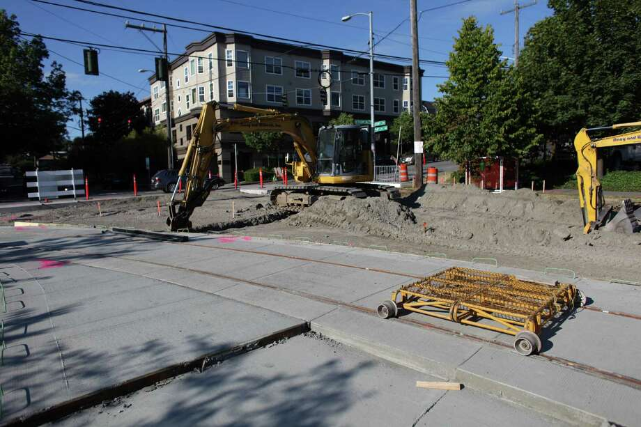 The new First Hill Streetcar tracks are shown under construction on Yesler Way between 12th Avenue South and 14th Avenue South on Friday, August 3, 2012. Photo: JOSHUA TRUJILLO / SEATTLEPI.COM