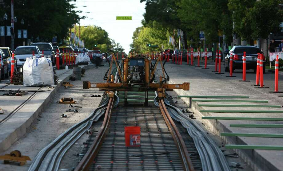 The new First Hill Streetcar tracks are shown under construction on Broadway near Seattle Central Community College on Friday, August 3, 2012. Photo: JOSHUA TRUJILLO / SEATTLEPI.COM