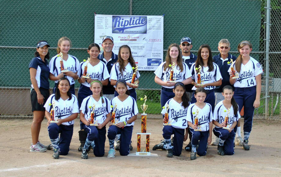 The Norwalk Riptide 12u softball team won the Fairfield County Fastpitch League tournament in Southbury last week with a 5-0 record. Pictured from top row (left to right) are coach Michelle Suda, Keara Meyerson, Annalise Icatar, manager Dan DiBlasio Jr., Jessica Otto, Dina DiBlasio, coach Sergio Garcia, Gabriela Catino, coach Dan DiBlasio Sr., and Mackenzie Lowden. Pictured bottom row are Tatyanna Molina, Julia Sferlazza, Brianny Garcia, Brenda Garcia, Skyler Suda and Jillian Howe. Photo: Contributed Photo