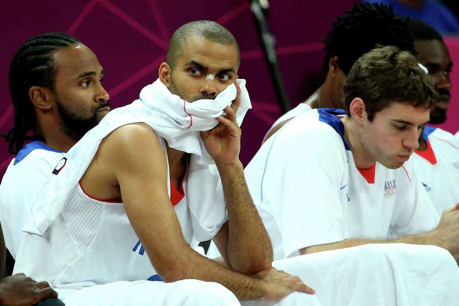 LONDON, ENGLAND - AUGUST 06:  Tony Parker of France looks on form the bench in the second half against Nigeria during the Men's Basketball Preliminary Round match on Day 10 of the London 2012 Olympic Games at the Basketball Arena on August 6, 2012  in London, England.  France won 79-73. Photo: Christian Petersen, Getty Images / 2012 Getty Images
