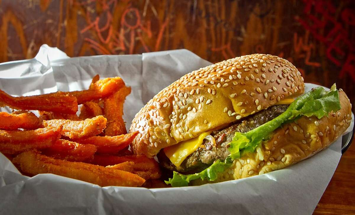 The Cheese Burger with Sweet Potato Fries at the Dutch Goose in Menlo Park, Calif., is seen on Thursday, August 2nd, 2012.