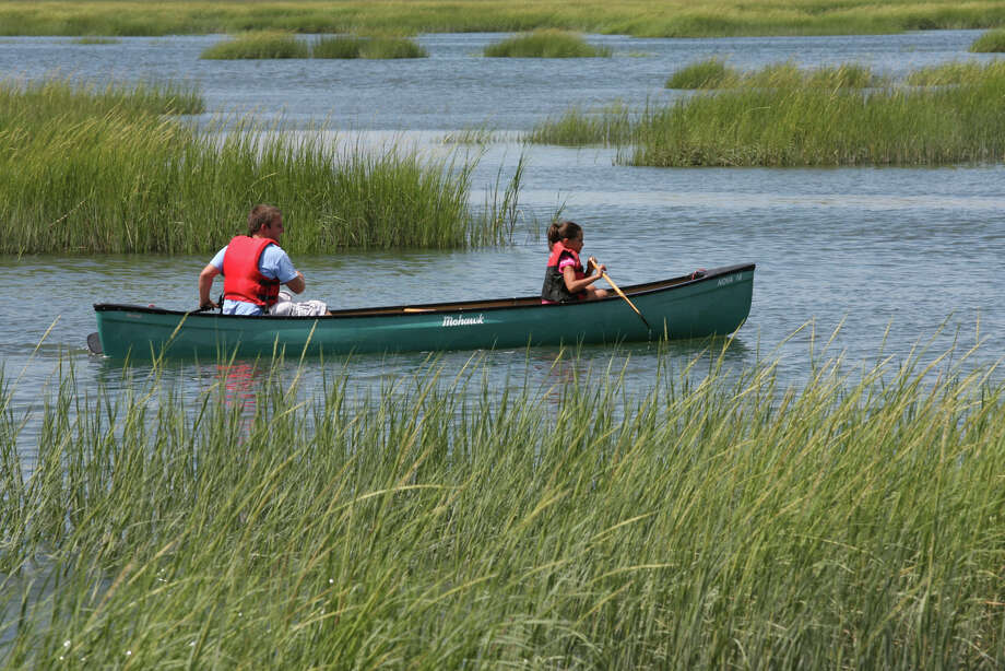 Connecticut Audubon Society Coastal Center counselor Kevin McFadden paddles with camper Bella Alers, 8, of Bethel, during an outing in Milford on Monday August, 6, 2012. The center holds several  guided canoe outings for families in the Charles E. Wheeler Salt Marsh. Photo: Unknown, B.K. Angeletti / Connecticut Post freelance B.K. Angeletti