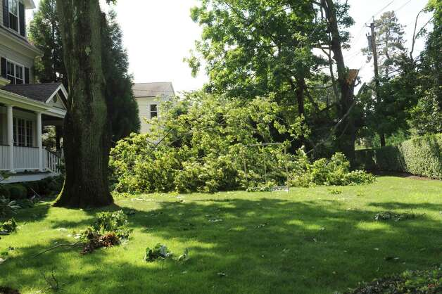A limb of a tree fell on the lawn on a house, between Sound Beach Ave. and and Clark Street in Old Greenwich, Monday, Aug 6. 2012.  A violent storm struck Greenwich Sunday night, knocking down trees that damaged homes in Old Greenwich. Photo: Helen Neafsey / Greenwich Time