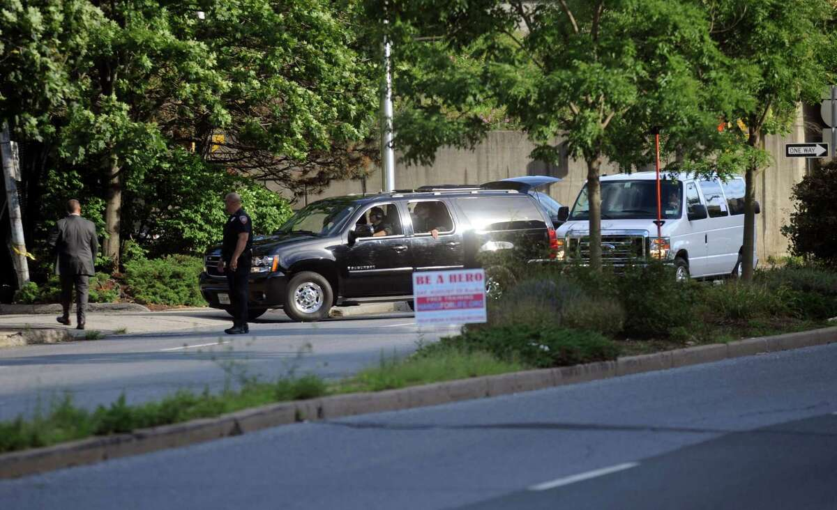 President Barack Obama arrives at the Stamford Marriott in the Presidential motorcade on Monday, August 6, 2012.