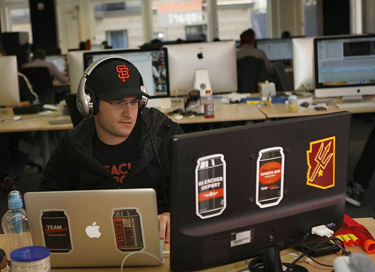 Community admin Jeff Chase working at Bleacher Report, an online sports news outlet in San Francisco, Calif., on Monday, August 6, 2012. Bleacher Report has been purchased by Time Warner for $200,000.