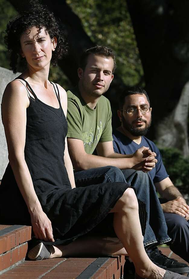 "Liz Jackson (left) and UC Berkeley students Roi Bachmutsky and Tom Pessah oppose the report's recommendations. Although many Jews identify with Israel, ""that does not mean that any criticism of Israel is a criticism of Jews,"" Jackson said. Photo: Paul Chinn, The Chronicle"
