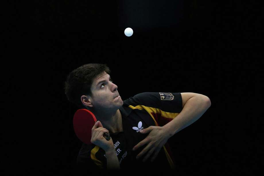 LONDON, ENGLAND - AUGUST 06:  Dimitrij Ovtcharov of Germany completes during Men's Team Table Tennis semifinal match against team of China on Day 10 of the London 2012 Olympic Games at ExCeL on August 6, 2012 in London, England. Photo: Feng Li, Getty Images / 2012 Getty Images